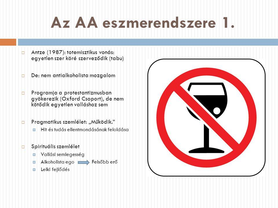 Az AA eszmerendszere 1.  Antze (1987): totemisztikus vonás: egyetlen szer köré szerveződik (tabu)  De: nem antialkoholista mozgalom  Programja a pr