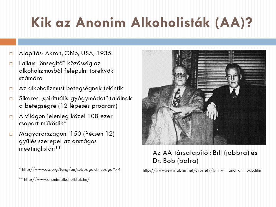 """Az AA alkoholizmus-felfogása: háromszoros betegség  Az alkoholfüggőség nem bűn vagy gyengeség, hanem betegség  Gyógyíthatatlan, progresszív, halálos (de tünetmentessé tehető)  Önerőből nem küzdhető le  A betegség három szintje:  Fizikai (eleinte allergiának vélték, ma egyfajta """"érzékenységnek tekintik)  Mentális (megszállottság, obszesszió)  Spirituális (beteges önközpontúság) ."""