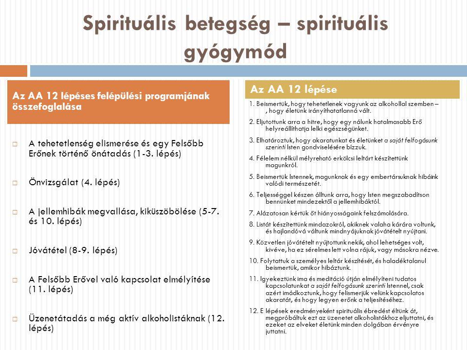 Spirituális betegség – spirituális gyógymód  A tehetetlenség elismerése és egy Felsőbb Erőnek történő önátadás (1-3. lépés)  Önvizsgálat (4. lépés)