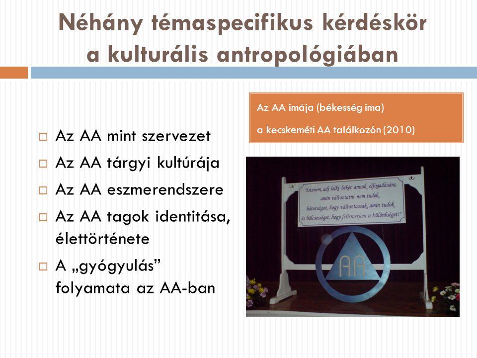 Néhány témaspecifikus kérdéskör a kulturális antropológiában Az AA imája (békesség ima) a kecskeméti AA találkozón (2010)  Az AA mint szervezet  Az