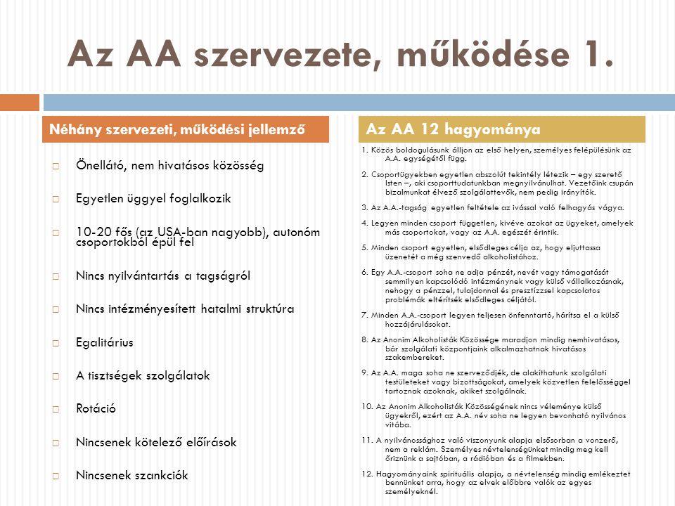 Az AA szervezete, működése 1.  Önellátó, nem hivatásos közösség  Egyetlen üggyel foglalkozik  10-20 fős (az USA-ban nagyobb), autonóm csoportokból