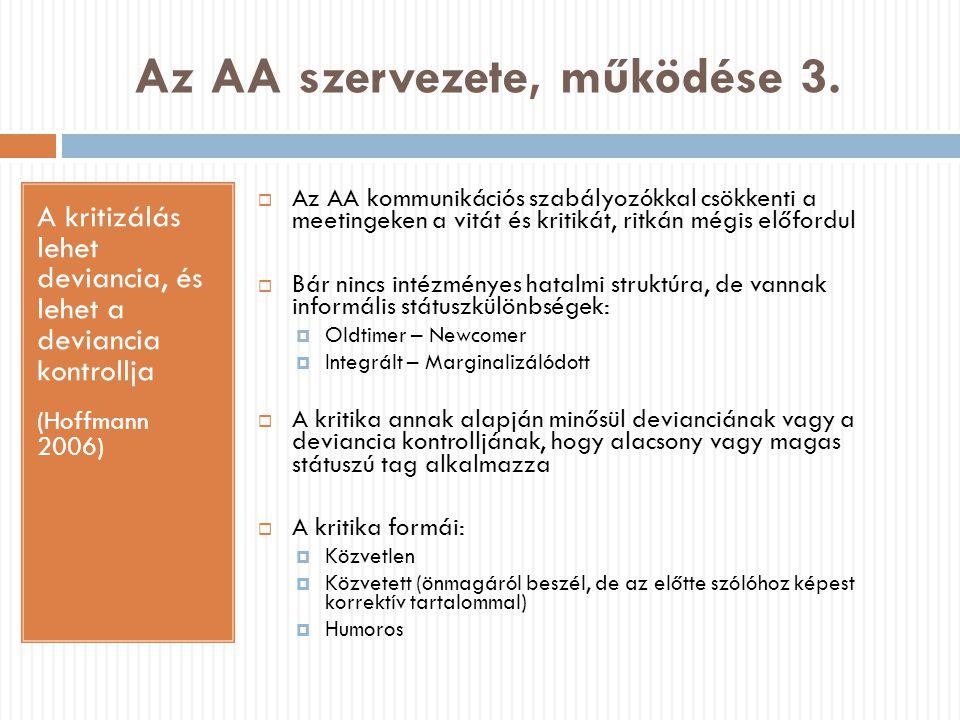 Az AA szervezete, működése 3. A kritizálás lehet deviancia, és lehet a deviancia kontrollja (Hoffmann 2006)  Az AA kommunikációs szabályozókkal csökk