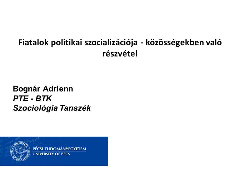 Fiatalok politikai szocializációja - közösségekben való részvétel Bognár Adrienn PTE - BTK Szociológia Tanszék