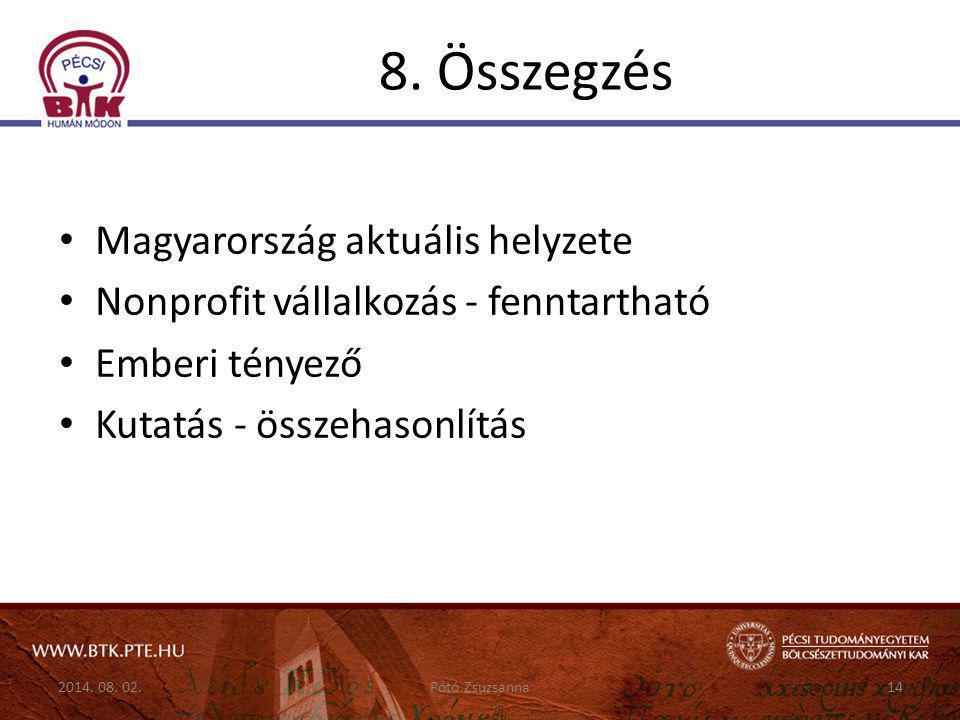 8. Összegzés Magyarország aktuális helyzete Nonprofit vállalkozás - fenntartható Emberi tényező Kutatás - összehasonlítás 2014. 08. 02.14Pótó Zsuzsann