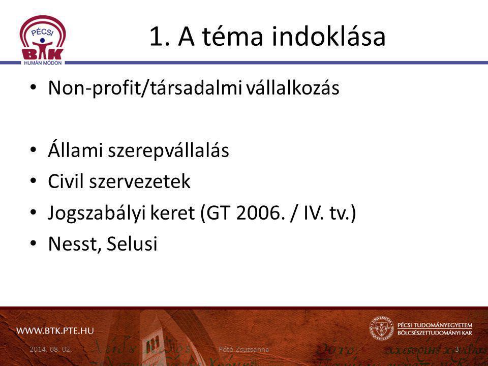 1. A téma indoklása Non-profit/társadalmi vállalkozás Állami szerepvállalás Civil szervezetek Jogszabályi keret (GT 2006. / IV. tv.) Nesst, Selusi 201