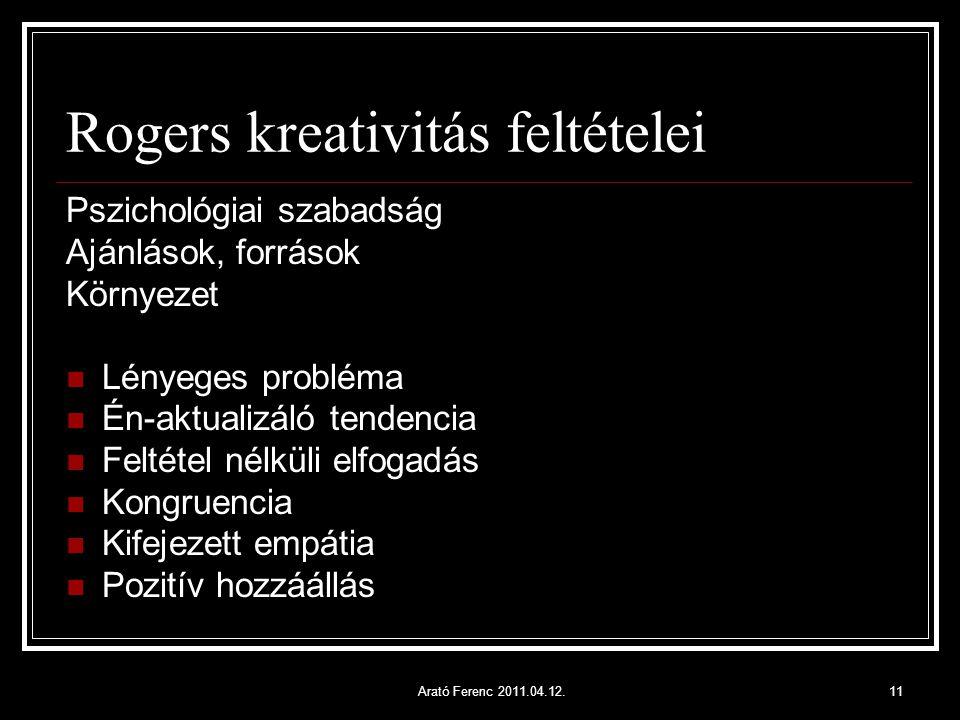 Rogers kreativitás feltételei Pszichológiai szabadság Ajánlások, források Környezet Lényeges probléma Én-aktualizáló tendencia Feltétel nélküli elfoga