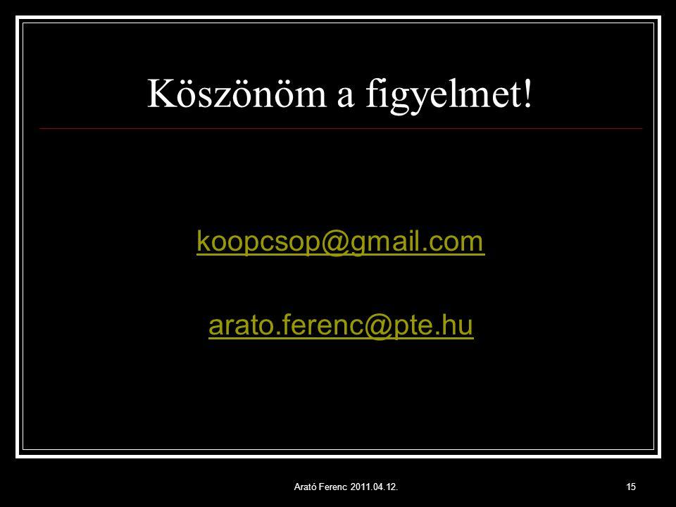 Köszönöm a figyelmet! koopcsop@gmail.com arato.ferenc@pte.hu Arató Ferenc 2011.04.12.15
