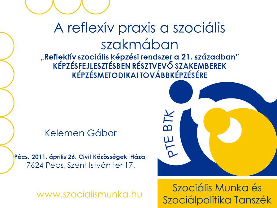 """www.szocialismunka.hu A reflexív praxis a szociális szakmában """"Reflektív szociális képzési rendszer a 21. században"""" KÉPZÉSFEJLESZTÉSBEN RÉSZTVEVŐ SZA"""