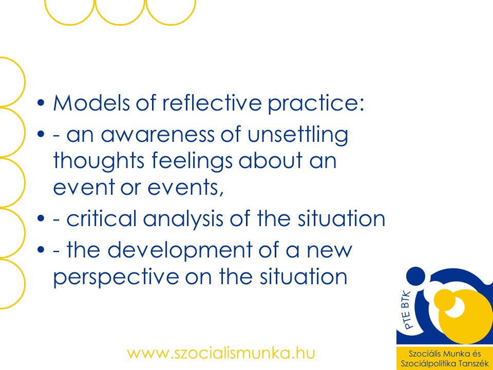 Models of reflective practice: - an awareness of unsettling thoughts feelings about an event or events, - critical analysis of the situation - the development of a new perspective on the situation www.szocialismunka.hu