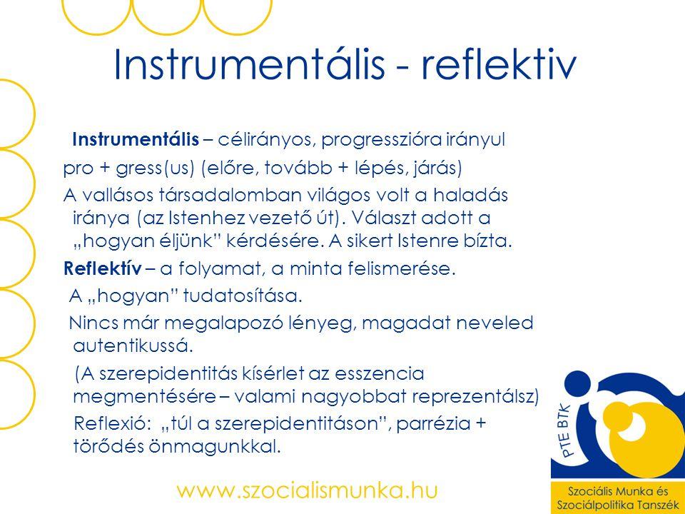 Instrumentális - reflektiv Instrumentális – célirányos, progresszióra irányul pro + gress(us) (előre, tovább + lépés, járás) A vallásos társadalomban