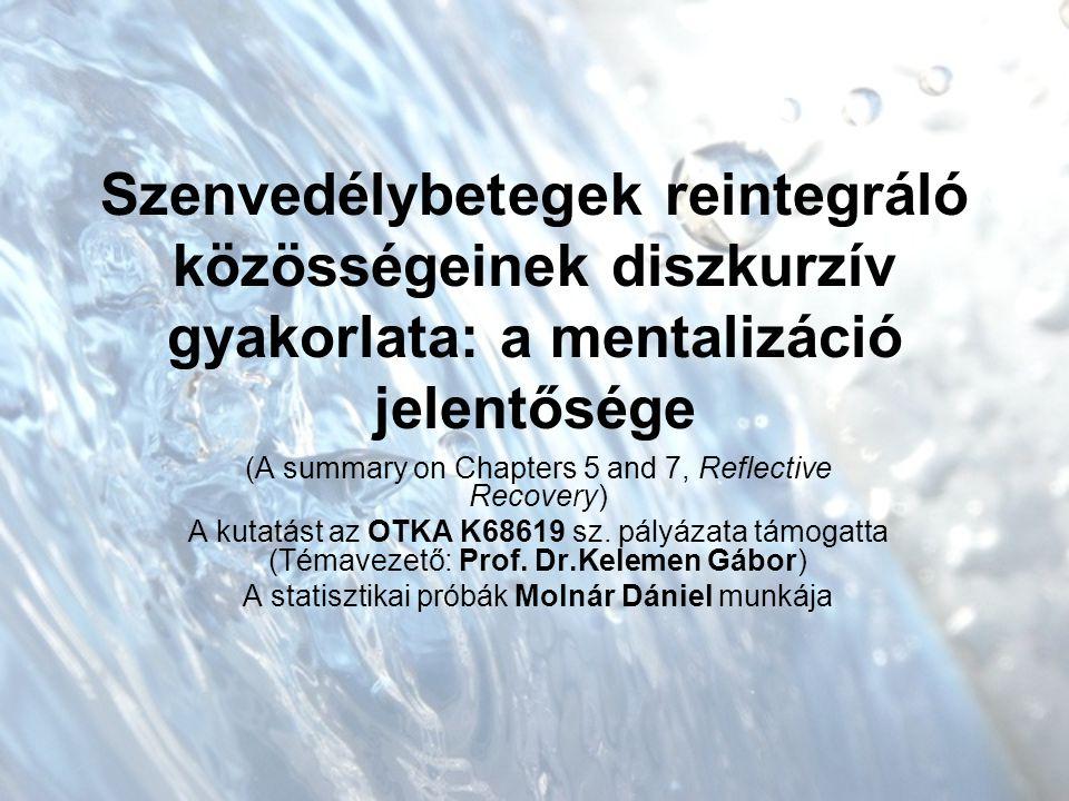 Szenvedélybetegek reintegráló közösségeinek diszkurzív gyakorlata: a mentalizáció jelentősége (A summary on Chapters 5 and 7, Reflective Recovery) A kutatást az OTKA K68619 sz.