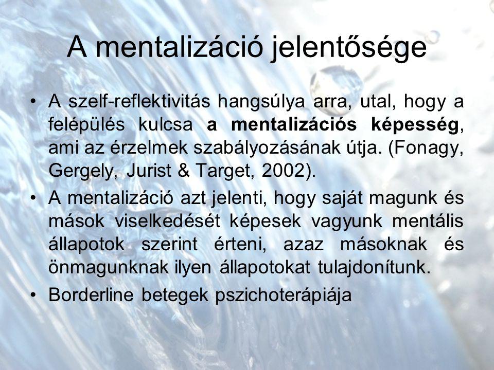 A mentalizáció jelentősége A szelf-reflektivitás hangsúlya arra, utal, hogy a felépülés kulcsa a mentalizációs képesség, ami az érzelmek szabályozásának útja.