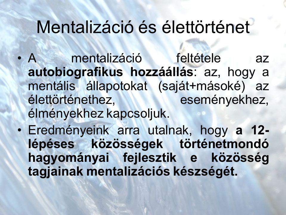 Mentalizáció és élettörténet A mentalizáció feltétele az autobiografikus hozzáállás: az, hogy a mentális állapotokat (saját+másoké) az élettörténethez, eseményekhez, élményekhez kapcsoljuk.