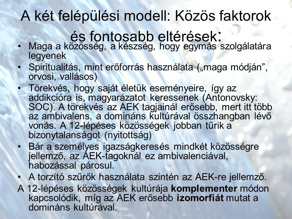 """A két felépülési modell: Közös faktorok és fontosabb eltérések : Maga a közösség, a készség, hogy egymás szolgálatára legyenek Spiritualitás, mint erőforrás használata (""""maga módján , orvosi, vallásos) Törekvés, hogy saját életük eseményeire, így az addikcióra is, magyarázatot keressenek (Antonovsky: SOC)."""