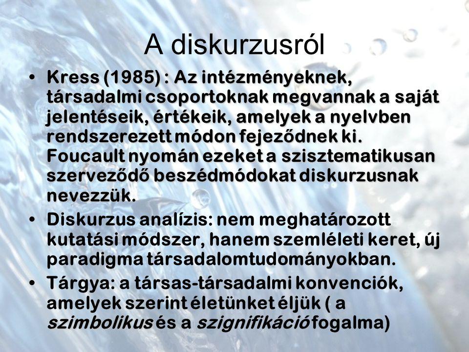 A diskurzusról Kress (1985) : Az intézményeknek, társadalmi csoportoknak megvannak a saját jelentéseik, értékeik, amelyek a nyelvben rendszerezett módon fejez ő dnek ki.