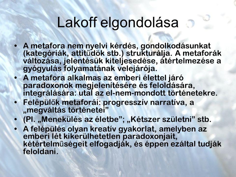 Lakoff elgondolása A metafora nem nyelvi kérdés, gondolkodásunkat (kategóriák, attit ű dök stb.) strukturálja.