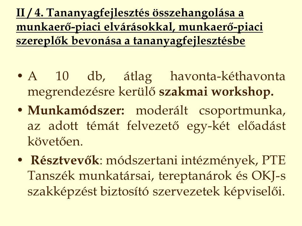 II / 4. Tananyagfejlesztés összehangolása a munkaerő-piaci elvárásokkal, munkaerő-piaci szereplők bevonása a tananyagfejlesztésbe A 10 db, átlag havon