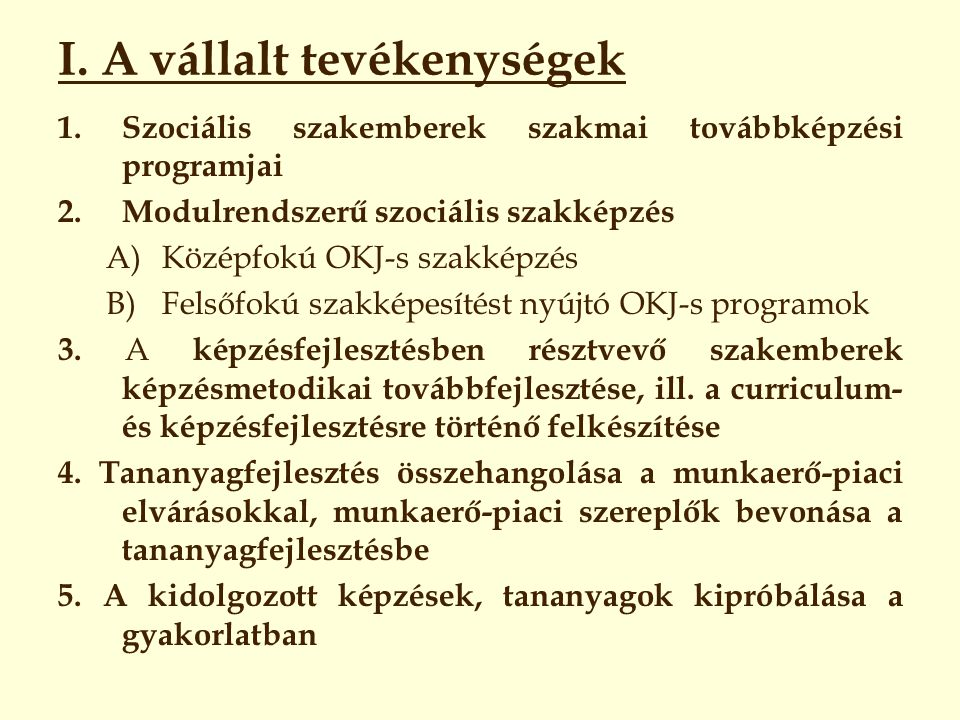 I. A vállalt tevékenységek 1.Szociális szakemberek szakmai továbbképzési programjai 2.Modulrendszerű szociális szakképzés A)Középfokú OKJ-s szakképzés