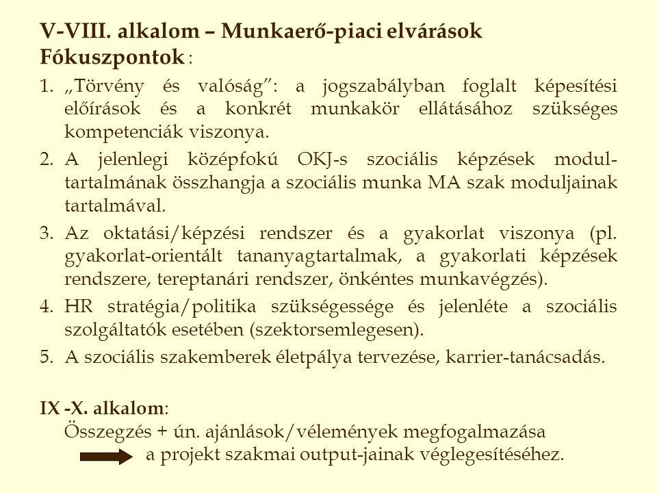 """V-VIII. alkalom – Munkaerő-piaci elvárások Fókuszpontok : 1.""""Törvény és valóság"""": a jogszabályban foglalt képesítési előírások és a konkrét munkakör e"""