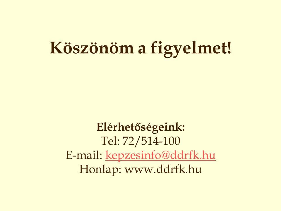 Köszönöm a figyelmet! Elérhetőségeink: Tel: 72/514-100 E-mail: kepzesinfo@ddrfk.hu Honlap: www.ddrfk.hukepzesinfo@ddrfk.hu