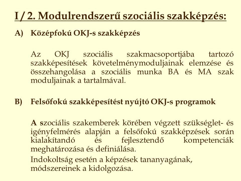 I / 2. Modulrendszerű szociális szakképzés: A)Középfokú OKJ-s szakképzés Az OKJ szociális szakmacsoportjába tartozó szakképesítések követelménymodulja