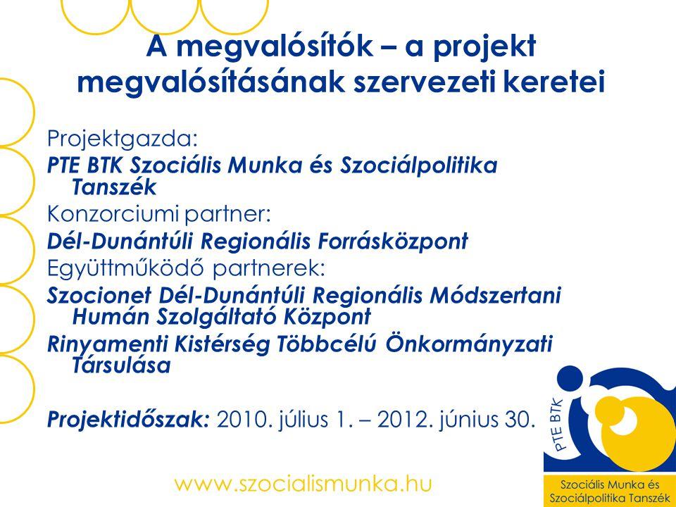 www.szocialismunka.hu A megvalósítók – a projekt megvalósításának szervezeti keretei Projektgazda: PTE BTK Szociális Munka és Szociálpolitika Tanszék Konzorciumi partner: Dél-Dunántúli Regionális Forrásközpont Együttműködő partnerek: Szocionet Dél-Dunántúli Regionális Módszertani Humán Szolgáltató Központ Rinyamenti Kistérség Többcélú Önkormányzati Társulása Projektidőszak: 2010.