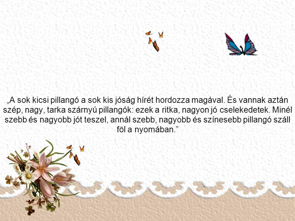 """""""Egy kis pillangót kergetek, mióta csak élek, s soha nem figyelem, mikor hova lépek, ő pedig csak csendben messze repül, s néha-néha a távolból előker"""