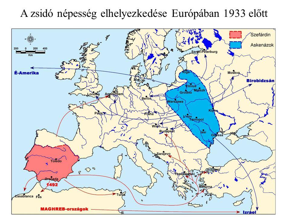 A zsidó népesség elhelyezkedése Európában 1933 előtt