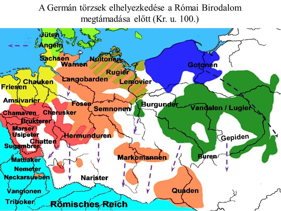 A Germán törzsek elhelyezkedése a Római Birodalom megtámadása előtt (Kr. u. 100.) Gepiden