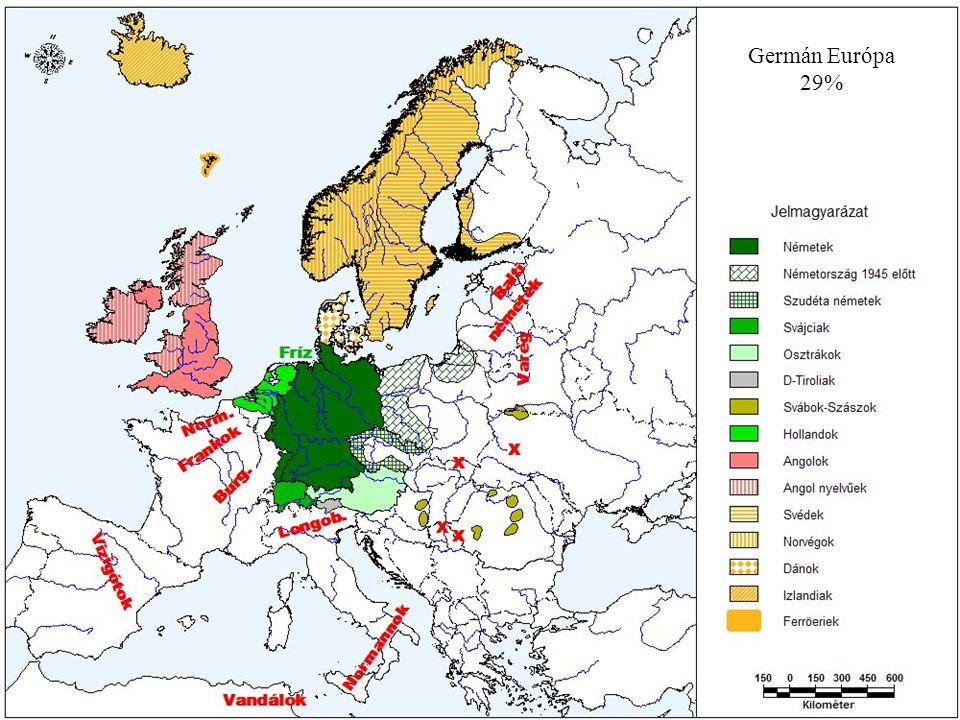 Nyugati germánok Felnémet 1.Németek - Németország 77 762 359 fő német 99% dán 35-50 000, fríz 400 000, szorb (vend) 120 000 fő + vendégmunkások - Ausztria 7 664 310 fő osztrák 98% horvát 24,5 ezer, szlovén 20 ezer, magyar 5,3 ezer fő - Svájc 70% - 4,55 millió fő - Luxemburg 367 200 fő luxemburgi 91%, német 5%, francia, olasz - +Franciaország, Olaszország, ex.