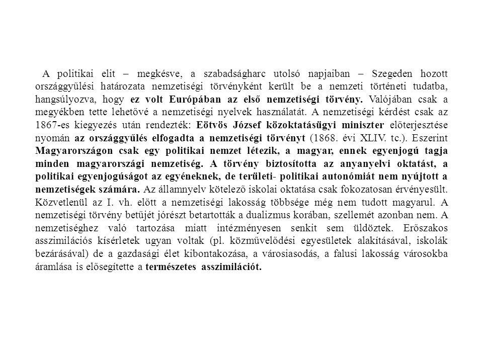 A politikai elit – megkésve, a szabadságharc utolsó napjaiban – Szegeden hozott országgyűlési határozata nemzetiségi törvényként került be a nemzeti t