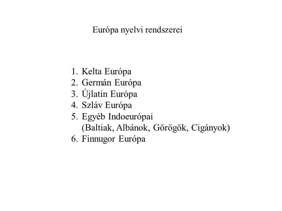 Európa nyelvi rendszerei 1.Kelta Európa 2.Germán Európa 3.Újlatin Európa 4.Szláv Európa 5.Egyéb Indoeurópai (Baltiak, Albánok, Görögök, Cigányok) 6.Finnugor Európa