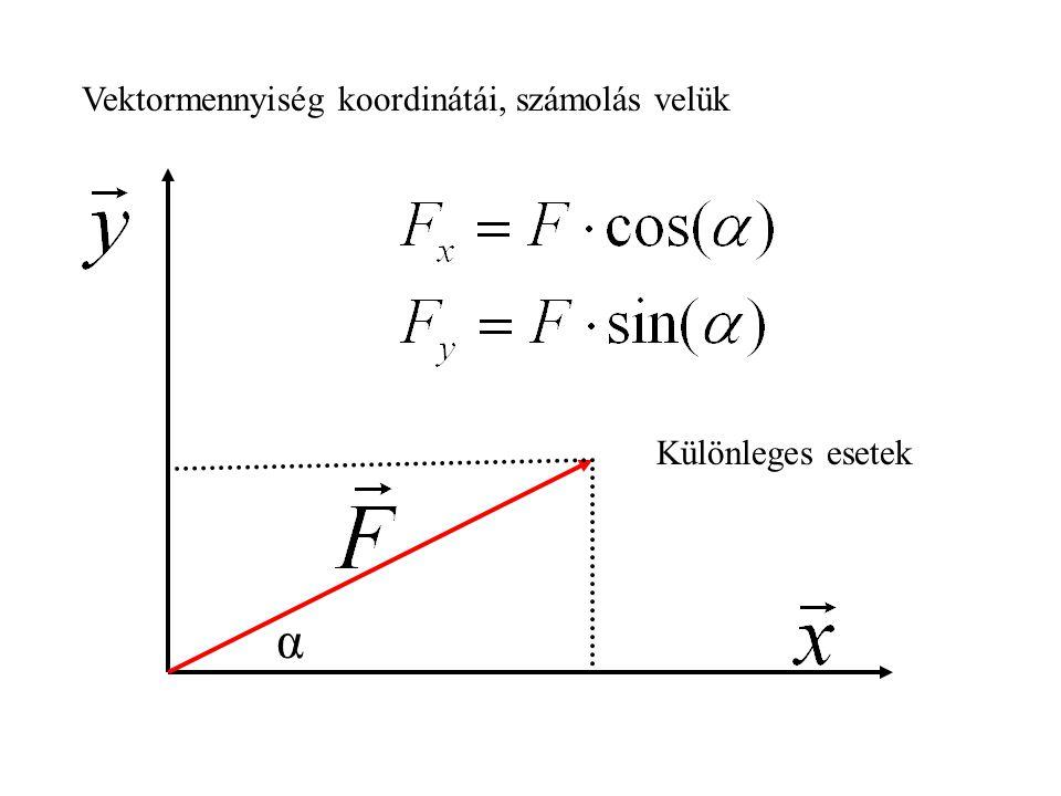 Vektormennyiség koordinátái, számolás velük α Különleges esetek