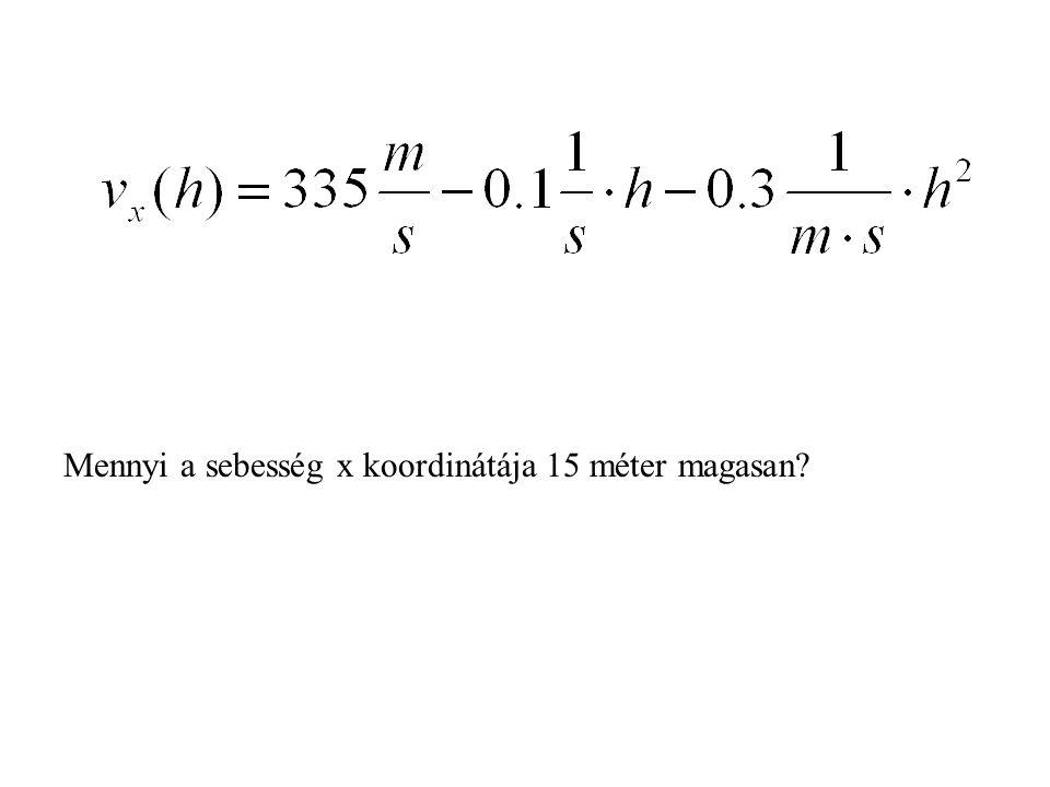 Mennyi a sebesség x koordinátája 15 méter magasan