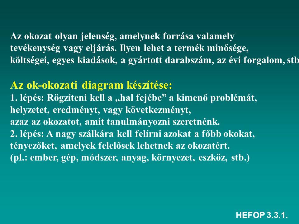 HEFOP 3.3.1. Az okozat olyan jelenség, amelynek forrása valamely tevékenység vagy eljárás. Ilyen lehet a termék minősége, költségei, egyes kiadások, a