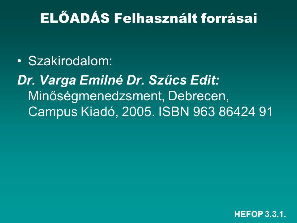 HEFOP 3.3.1. Szakirodalom: Dr. Varga Emilné Dr. Szűcs Edit: Minőségmenedzsment, Debrecen, Campus Kiadó, 2005. ISBN 963 86424 91 ELŐADÁS Felhasznált fo