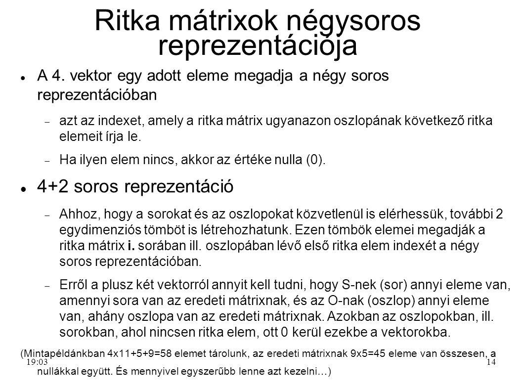 14 Ritka mátrixok négysoros reprezentációja A 4. vektor egy adott eleme megadja a négy soros reprezentációban  azt az indexet, amely a ritka mátrix u