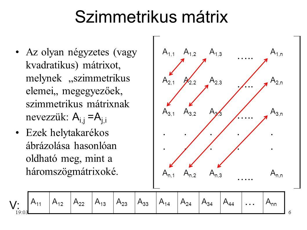 """6 Szimmetrikus mátrix Az olyan négyzetes (vagy kvadratikus) mátrixot, melynek """"szimmetrikus elemei"""" megegyezőek, szimmetrikus mátrixnak nevezzük: A i,"""