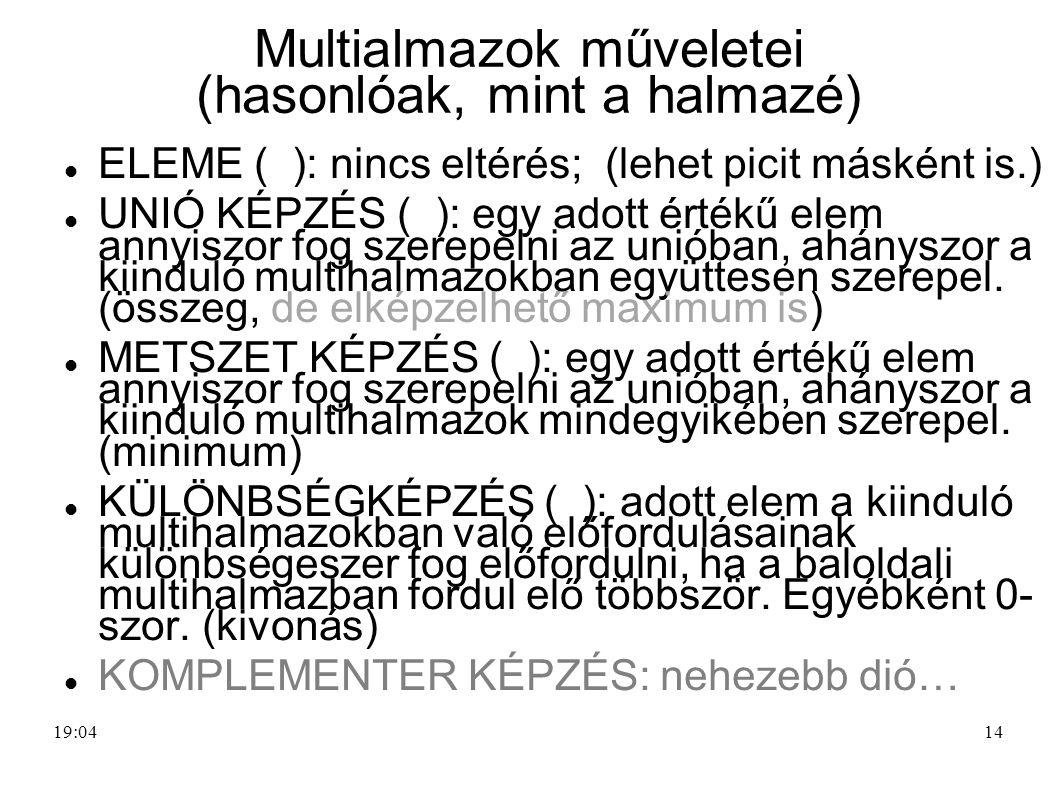 14 Multialmazok műveletei (hasonlóak, mint a halmazé) ELEME ( ): nincs eltérés; (lehet picit másként is.) UNIÓ KÉPZÉS ( ): egy adott értékű elem annyi