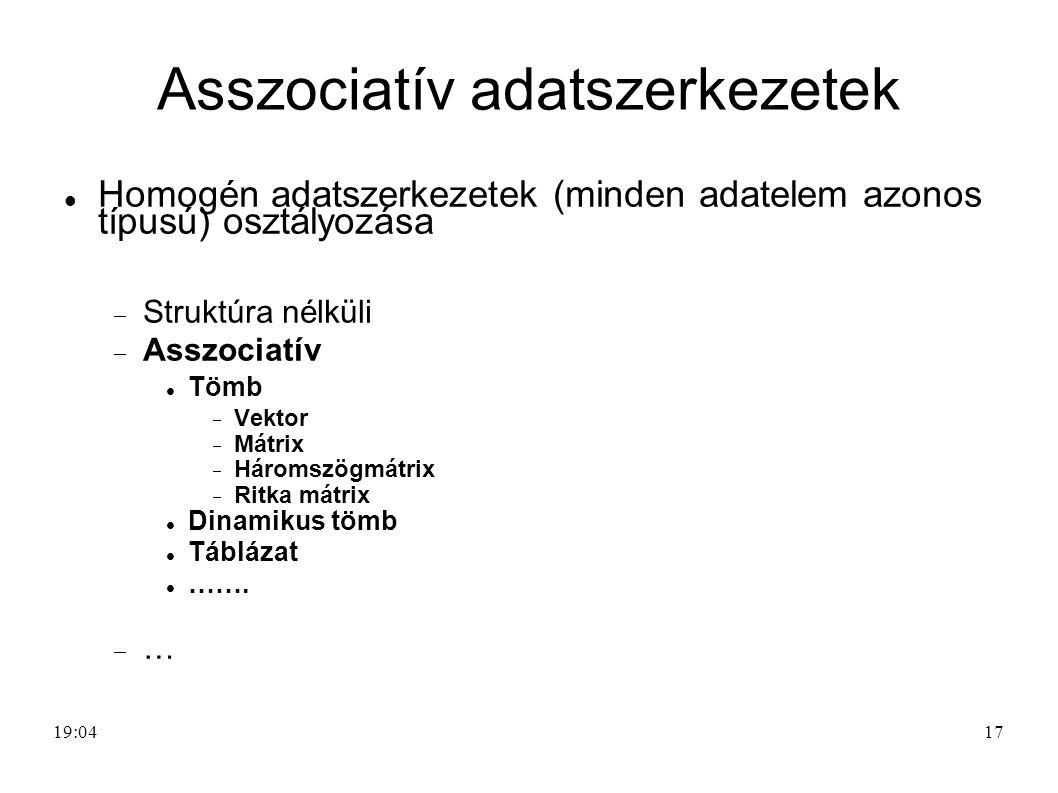 17 Asszociatív adatszerkezetek Homogén adatszerkezetek (minden adatelem azonos típusú) osztályozása  Struktúra nélküli  Asszociatív Tömb  Vektor 