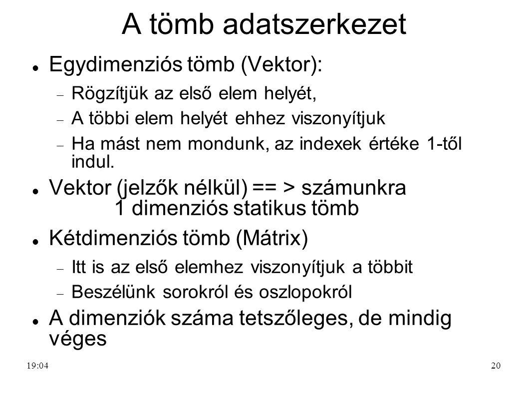 20 A tömb adatszerkezet Egydimenziós tömb (Vektor):  Rögzítjük az első elem helyét,  A többi elem helyét ehhez viszonyítjuk  Ha mást nem mondunk, a