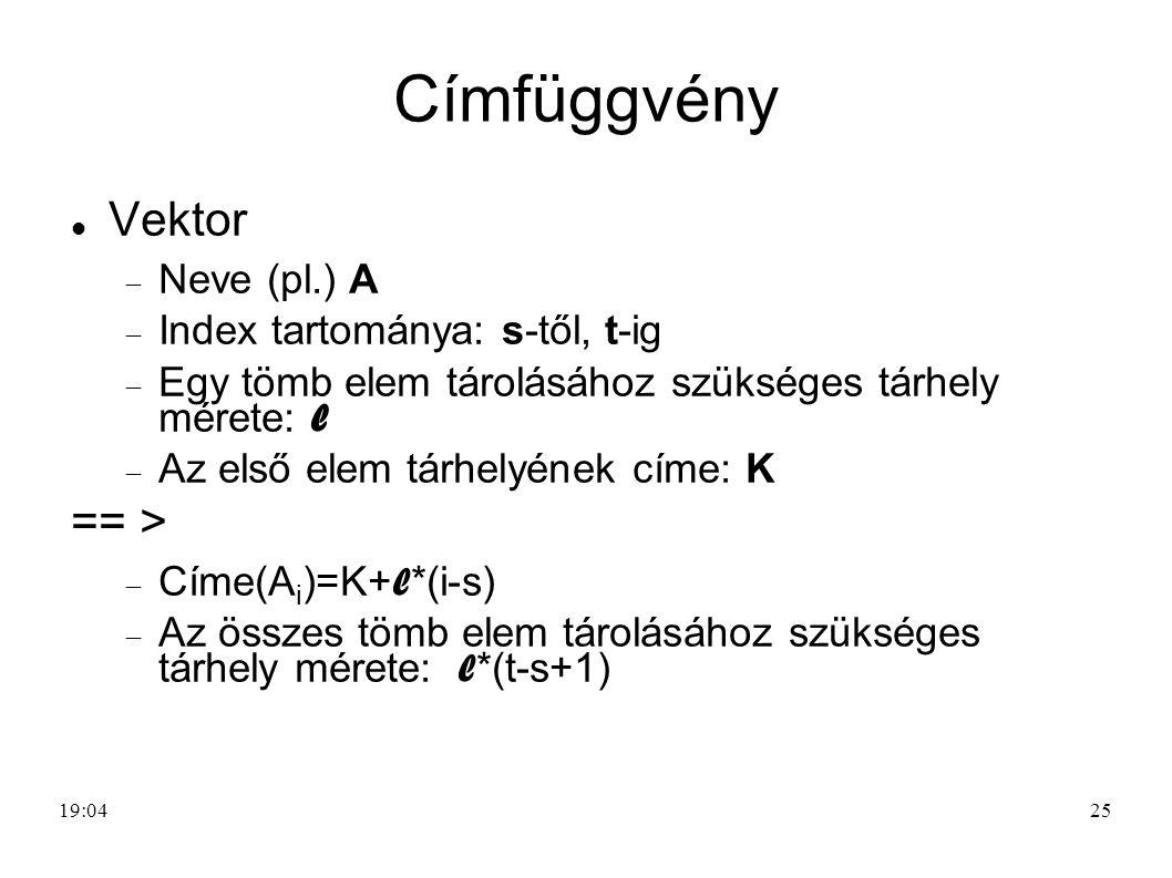 25 Címfüggvény Vektor  Neve (pl.) A  Index tartománya: s-től, t-ig  Egy tömb elem tárolásához szükséges tárhely mérete: l  Az első elem tárhelyéne