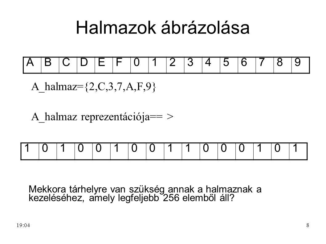 8 Halmazok ábrázolása A_halmaz={2,C,3,7,A,F,9} A_halmaz reprezentációja== > ABCDEF0123456789 1010010011000101 Mekkora tárhelyre van szükség annak a ha
