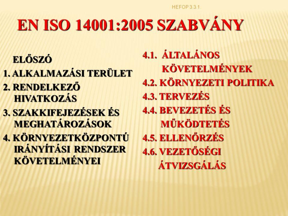 EN ISO 14001:2005 SZABVÁNY ELŐSZÓ ELŐSZÓ 1.ALKALMAZÁSI TERÜLET 2.