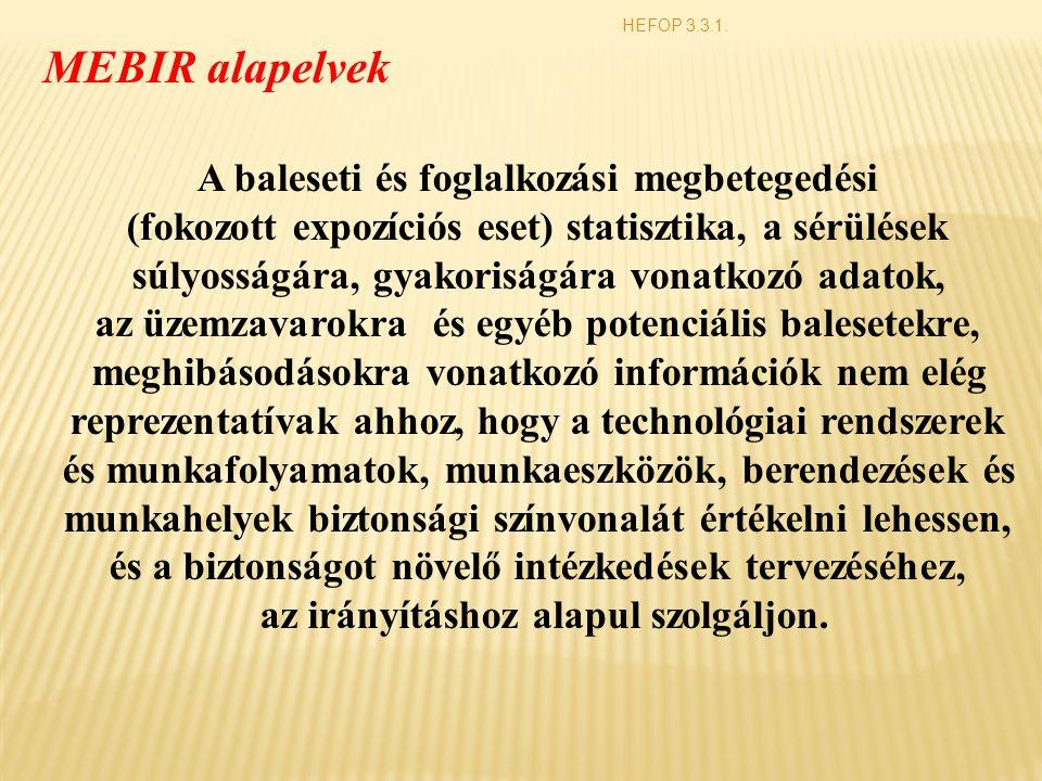 HEFOP 3.3.1. A baleseti és foglalkozási megbetegedési (fokozott expozíciós eset) statisztika, a sérülések súlyosságára, gyakoriságára vonatkozó adatok