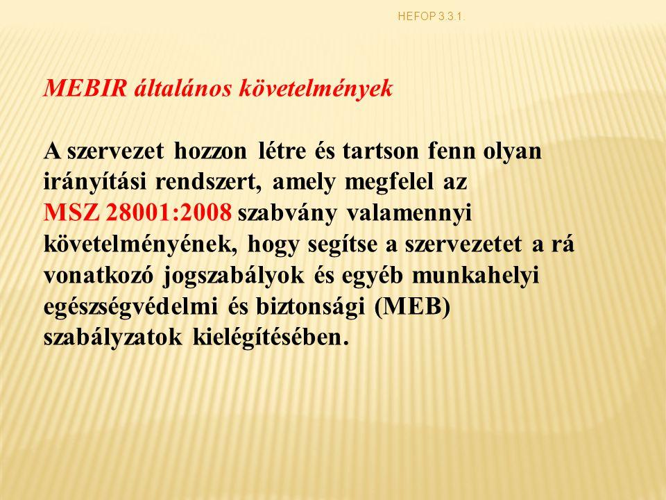 HEFOP 3.3.1. MEBIR általános követelmények A szervezet hozzon létre és tartson fenn olyan irányítási rendszert, amely megfelel az MSZ 28001:2008 szabv