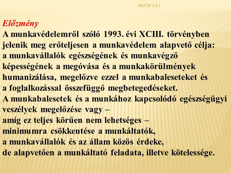 Előzmény A munkavédelemről szóló 1993. évi XCIII. törvényben jelenik meg erőteljesen a munkavédelem alapvető célja: a munkavállalók egészségének és mu