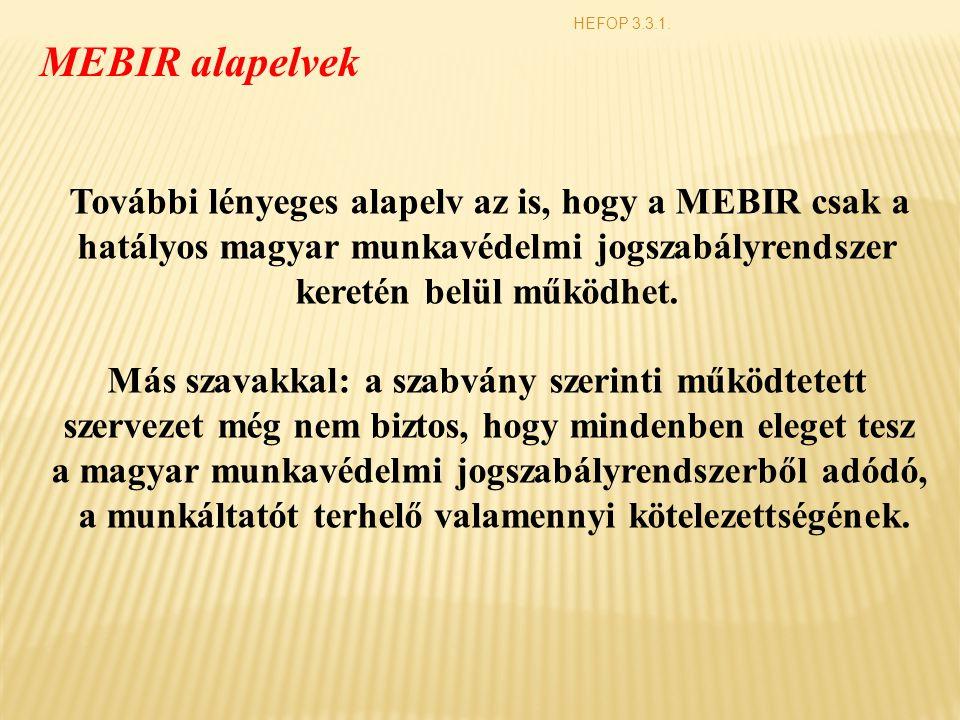 HEFOP 3.3.1. MEBIR alapelvek További lényeges alapelv az is, hogy a MEBIR csak a hatályos magyar munkavédelmi jogszabályrendszer keretén belül működhe