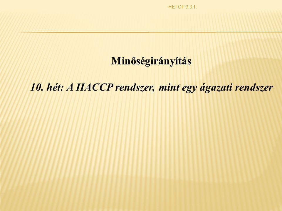  A HACCP rendszer bemutatása  A HACCP rendszer alkalmazásának előnyei  A HACCP rendszer fogalomrendszere HEFOP 3.3.1.