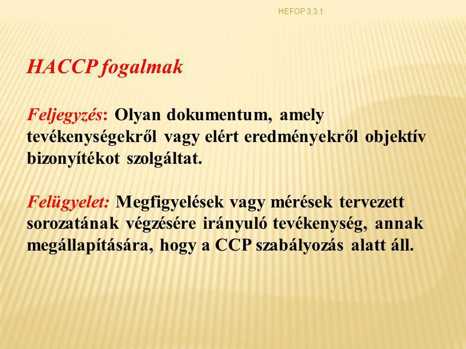 HEFOP 3.3.1. HACCP fogalmak Feljegyzés: Olyan dokumentum, amely tevékenységekről vagy elért eredményekről objektív bizonyítékot szolgáltat. Felügyelet